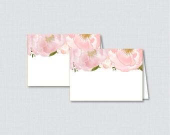 Printable Floral Bridal Shower Food Tent Cards - Blush Pink and Gold Garden Bridal Shower Food Labels OR Place Cards - Flowers Bridal 0007