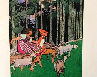 Children's Book Illustration. Vintage Baby's Room Decor. Baby Shower Gift.