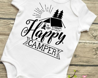 Happy Camper - Baby infant Bodysuit Baby Boys or Girls Unisex  Shirt multiple infant Sizes and Colors 3-12 months