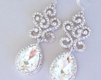 Long crystal earrings, sparkly large bridal crystal earrings, long clear crystal statement, large teardrop rhinestone, wedding jewelry