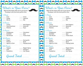 Baby Shower Whatu0027s In Your Purse Game   Printable Baby Shower Games    Little Man Theme   Blue Lime Mustache Bowtie Baby Boy   B063