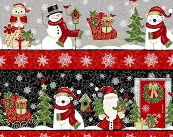 Christmas Fabric - Snowman Santa - Winter Greetings Sharla Fults Studio E Fabrics - 4213 89 Border Stripe - Priced by the half yard