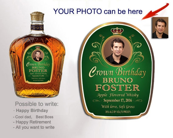 Personalized crown royal style bottle labels custom whiskey label for man dad brother boss personalized whiskey gift with your photo