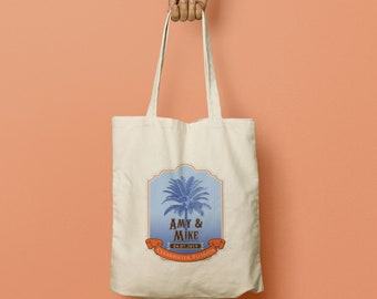 CLAIRE Custom Canvas Tote Bag, Destination Wedding Welcome Gift, Wedding Favor Bags, Beach Totes, Palm Trees, Bridesmaid gift