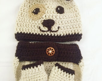 Crochet Puppy bonnet-diaper cover-booties Set