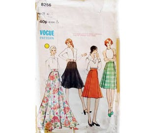 Vogue 8256 Vintage 60's Flared and Pleated Skirt Sewing Patterns Mid-knee or Evening length 4 Options Size UK 12 Waist 27""