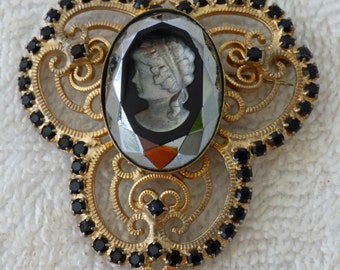 VINTAGE Black glass INTAGLIO CAMEO necklace/brooch w/ rhinestones + tassel