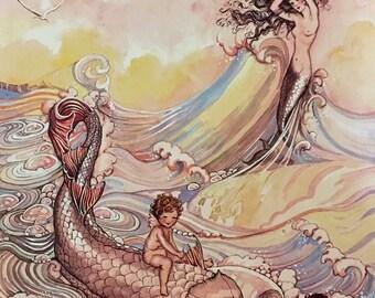 WHERE MERMAIDS COME 11x15 Fantasy Art Nouveau Glamour Pin-Up Cupid Deco  - Revivalist Cosmopolitan Illustrator Muralist 1800s - 20s Pinup