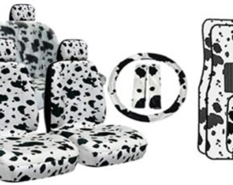 1 Set of Giraffe Print Car Seat Covers and steeling wheel