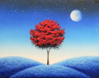 Whimsical Art Print of Blue Night Dreamscape, Full Moon Art, Red Tree, Surreal Landscape, Fantasy Wall Art, Contemporary Magical Nightscape