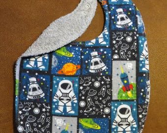 Large Toddler Bib Unlined Astronauts Preschool Bib  Flannel Terry Cloth Plastic Snaps Rockets Space Ships Planets Unlined Large Toddler bib