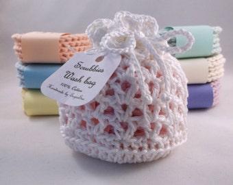 Crocheted Face Scrubbies set, scrubbies and wash bag set, 100% Cotton,Crochet Scrubbies, Facial Cloths, Cotton Face Scrubbies, makeup pads