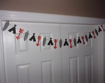 Arrow Feather Tipi Tepee Garland Orange Medium Grey Black Cardstock Paper Tribal Aztec Baby Shower Decor Wild One Birthday Banner