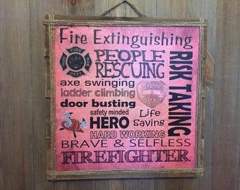 Merveilleux Firefighter Gift, Fireman, Personalized Firefighter Gift, Firefighter Decor,  Fireman Decor, Wall