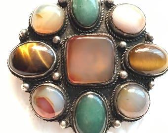 Antique Victorian Scottish Sterling Silver Agate Tigers Eye Jade Brooch Gem Stone