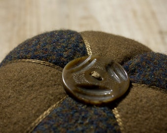 Wool Pinwheel Pincushion Series: Light  Brown and Dark Brown and Black Tweed Felted Wool