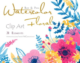 Blue and Pink Watercolor Floral Clip Art Set PNG Instant Download for Wedding Invitations, Blog, Greeting Card, Graphic Design, Illustration