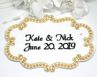 Personalized Embroidered Wedding Dress Label Personalized Wedding Label Embroidered Custom Made Wedding dress label by Canyon Embroidery