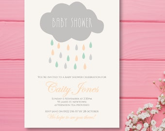Cloud baby shower invitation 5x7inches