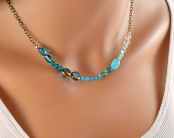Asymmetrical Blue Necklace, Choker, Antiqued Brass Chain, Aqua Glass Beads, Ombre, Adjustable Length, Wire Wrapped Jewelry