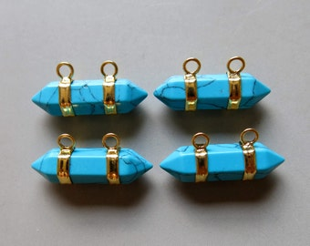 Turquoise Pendant With Double bail Connector - B1218