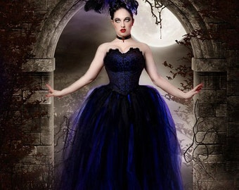 Streamer floor length tutu skirt formal royal blue black adult wedding bridal gothic vampire steampunk -You Choose Size- Sisters of the Moon
