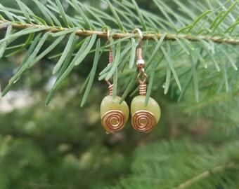 Fun Serpentine and Copper Earrings