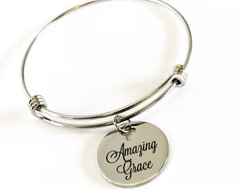 Christian Jewelry Gift, Amazing Grace Bracelet, Stacking Bangle, Baptism Gift, Confirmation Gift For Her, Religious Jewelry Gift