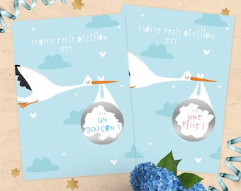 Scratch pregnancy, baby gender, girl or boy announcement card? Stork