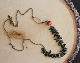 Hot Orange Assymetric Leaf Necklace