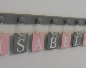 Baby Girl Nursery, Bedroom Decor Wooden Wall Sign Painted Light Pink and Gray. Set Includes Wooden Pegs Personalized Letters for Baby Girl
