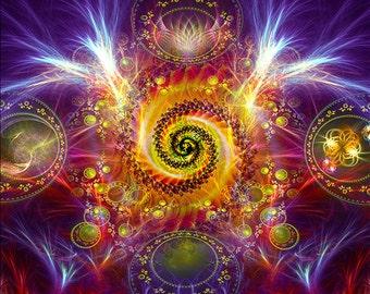 DANCING SHIVA - Tapestry, Wall Hanging - Pumayana Visionary Healing Art, Spiritual, Psychedelic, Shamanic, Sacred Geometry, Entheogenic Art