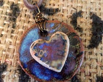 Handmade Pottery Heart Pendant on Leather Cord