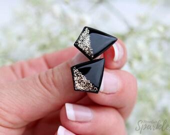 Diamond Black Gold Studs, Titanium Posts, Hypoallergenic, Black Gold Earrings, Minimalist Earring, Black Stud Earrings, Christmas Gift Woman
