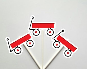 Red Wagon Cupcake Toppers, Little Red Wagon Cupcake Toppers