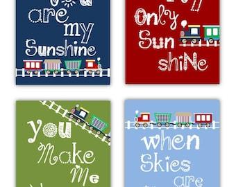 You Are My Sunshine Art // Train Art for Kids // Train Decor // Train Art Prints // Train Nursery Decor // PRINTS ONLY Unframed