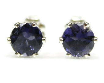 Iolite Stud Earrings Silver Iolite Earrings September Birthstone Blue Gemstone Iolite Post Earrings 4MM 6MM Round Iolite Sterling Jewelry