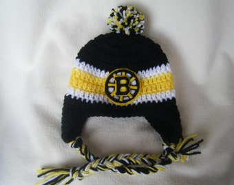 Crocheted Bruins Inspired In Team Colors or (Choose your team) Baby Beanie/Hat - Made to Order - Handmade by Me