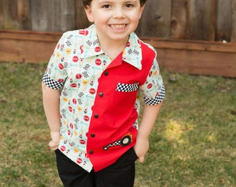 Boy's button down camp style shirt in 100% cotton. Race Car Theme Shirt in Size 5 Ready to Ship - RTS!