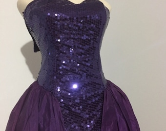 Purple Sequined 80's Party Dress