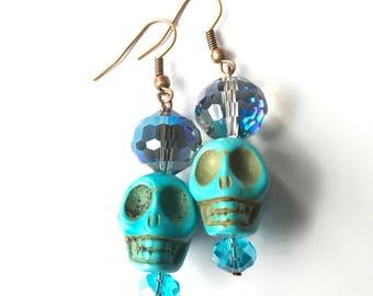 Blue Sparkle Sugar Skull Earrings, Sugar Skull Earrings, Blue Earrings, skull earrings, day of the dead jewelry, beaded earrings, blue