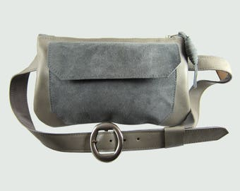 Travel Hip bag.Genuine leather and suede Fanny pack. Made with Love in Brooklyn.