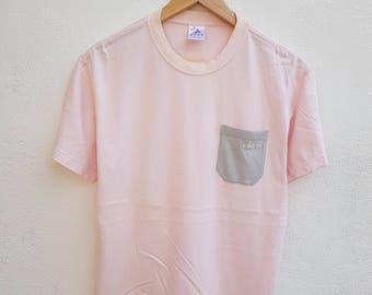 Vintage 90s Adidas Sportswear Pink and Grey Pocket Logo Run Running T-shirt Size S