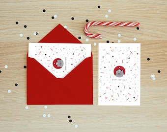 Meowy Christmas Printable Cat Christmas Card, Digital Card, Cat Lover Holiday Card