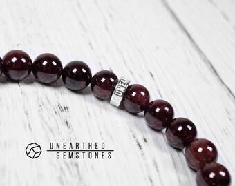 Red Garnet Bracelet - January Birthday Gift, Dark Red Jewelry, January Birthstone Bracelet, Mens Gemstone Beaded Bracelet