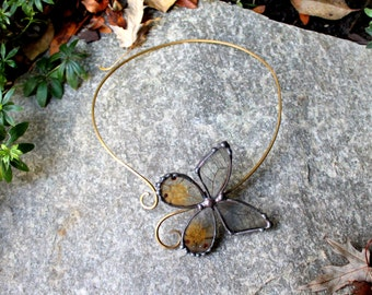 Amber Phantom Butterfly - Real Butterfly Wing Choker - Clear Wing Butterfly Necklace