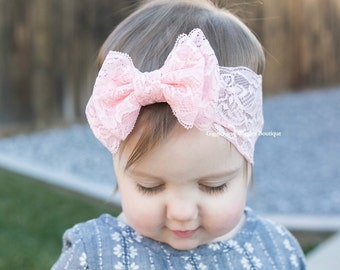 Baby girl headband, pink lace double bow headband, baby bows, peach pink headband, boho baby headband, 1st birthday bow
