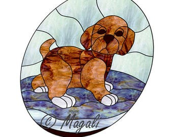 Puppy stained glass pattern