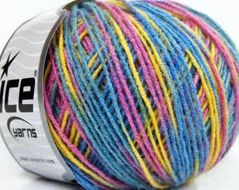 ICE MULTICOLOR YELLOW PINK BLUE 50G FINGERING 3 //56 LILAC BABY WOOL