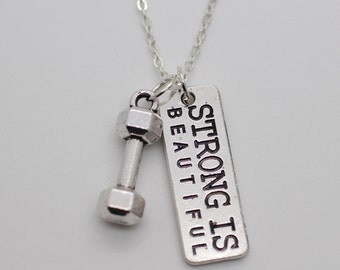 Dumbbell STRONG IS BEAUTIFUL Chain Necklace * Fitness Weightlifting Gym crossfit
